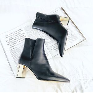 Zara Black Leather Heeled Chelsea Ankle Boots